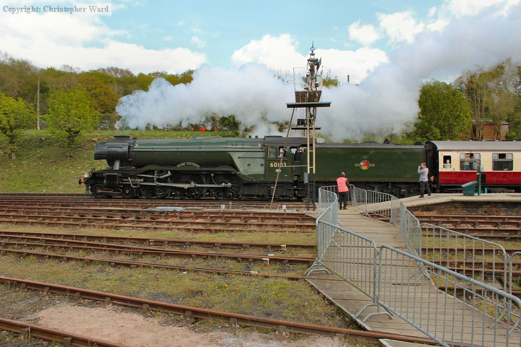 Flying Scotsman draws through the station with a non-stop run to East Grinstead