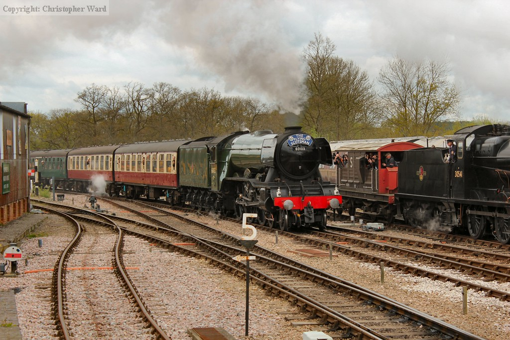 The star of the show, Flying Scotsman, with her first train of Easter Saturday