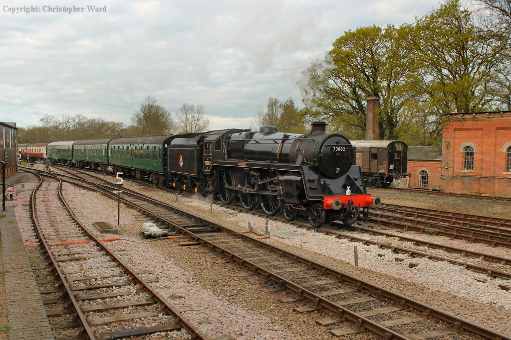 73082 arrives at Horsted Keynes with the first up train of the day