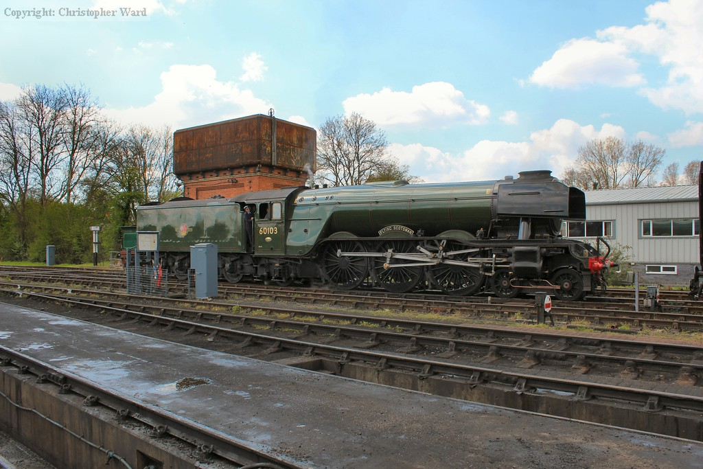 Flying Scotsman prepares to pull into the station at Sheffield Park