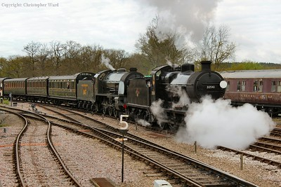 A blast of steam from the cocks as the Q and S15 arrive into Horsted Keynes
