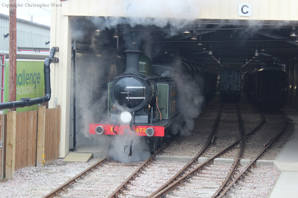 B473 shunts in the newly completed carriage shed at Sheffield Park