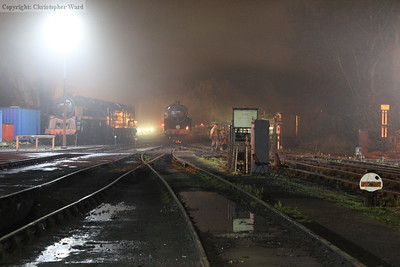Night-fall at Sheffield Park as 73082 is tended to prior to running the late evening trains. Another giant, the 9F, can be seen to the left.