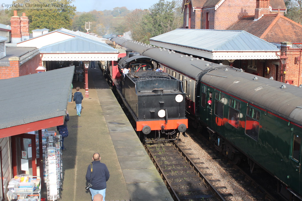 The Q class brings the goods train into Sheffield Park