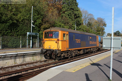 A quick cameo at East Grinstead NR station from GBRf 73212 on a Sandite working
