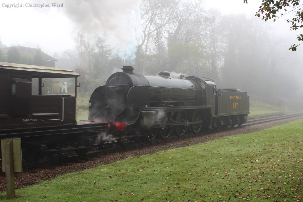 847 doing as she was originally built to do, taking a freight train down a Southern Railway line