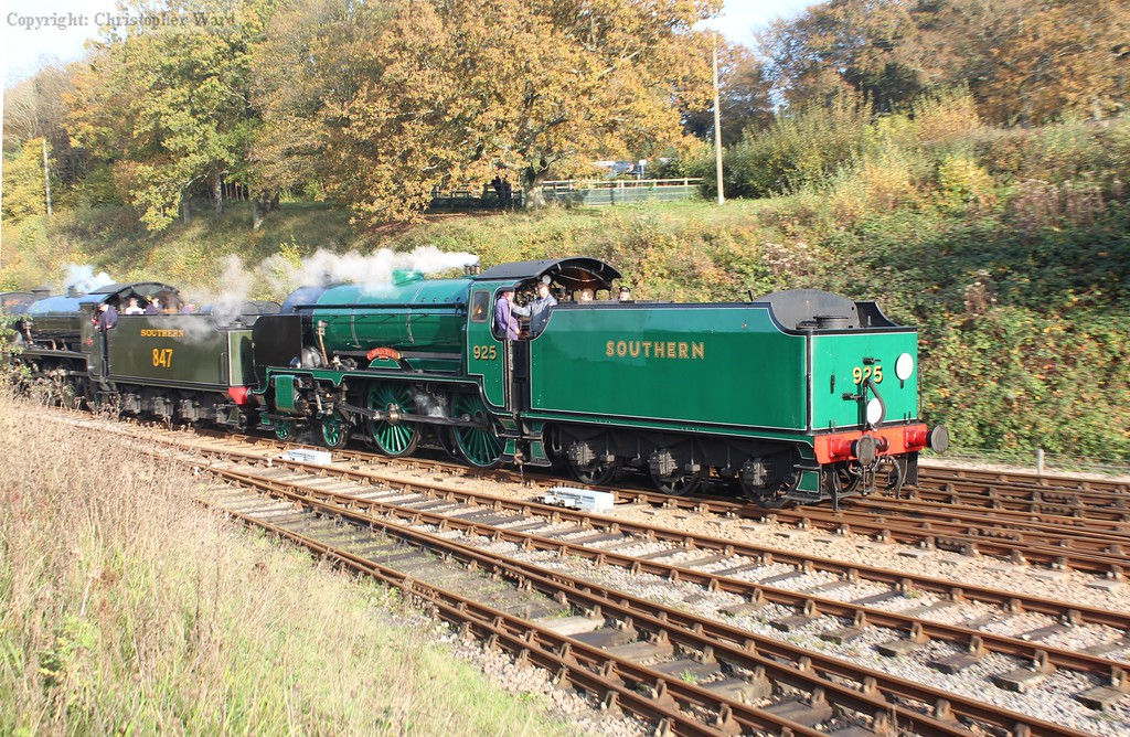 925 leads the Maunsell double-header into Horsted Keynes