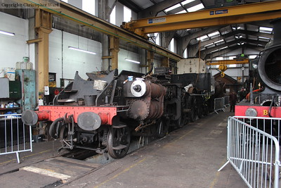 The frames of 80151 in the workshops as the Standard Tank is returned to steam