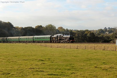 Camelot approaches Horsted with the Bulleid coaches immediately behind the tender