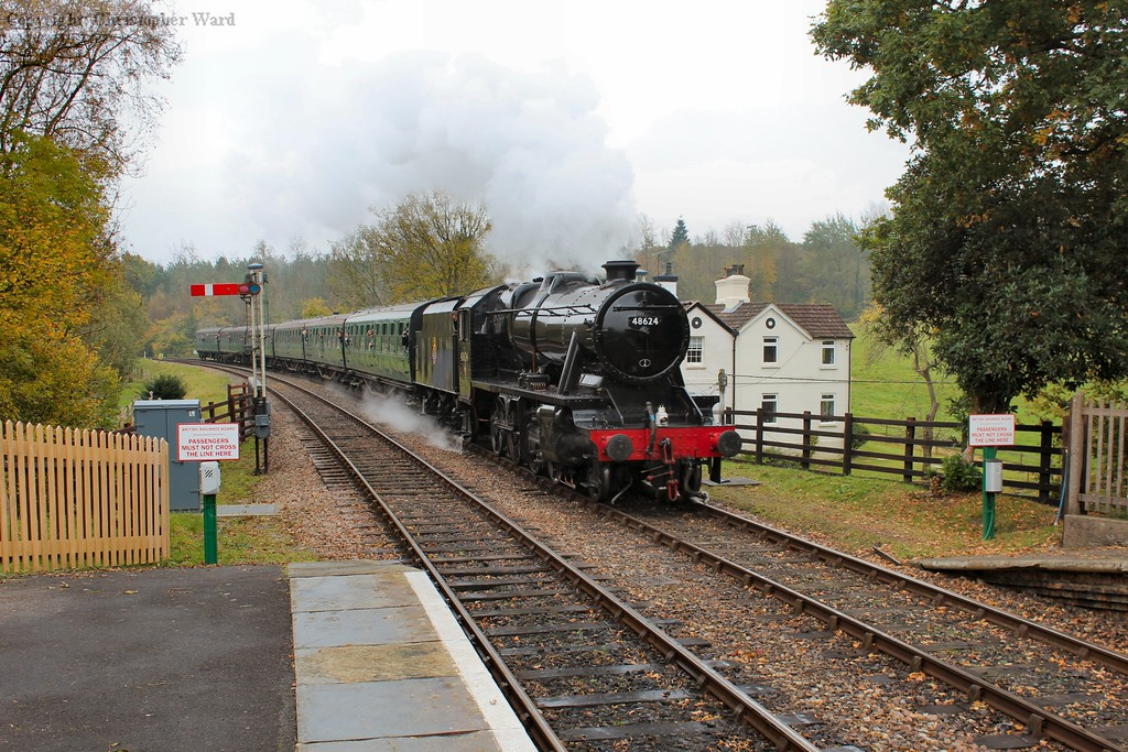 The LMS heavy freight beast arrives at the genteel Sussex countryside station