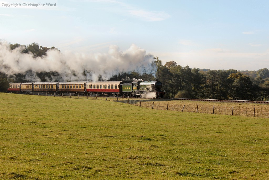 The B12 makes a graceful sight with the train featuring the Pullmans