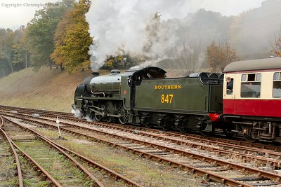 847 presents an image of power as she pulls away from Horsted Keynes