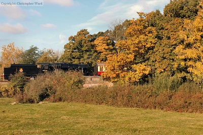 The 8F pulls out past the glorious autumn colours