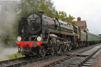 70000 Britannia waits at Sheffield Park for the run to East Grinstead