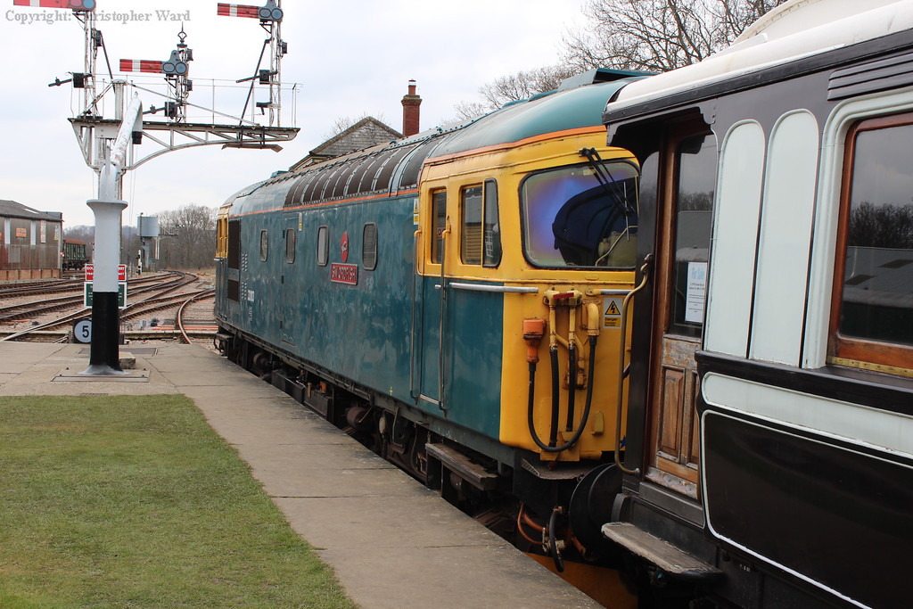 33103 Swordfish sat at the end of Platform 1 at Horsted prior to resuming engineering duties during the brief shut-down of the northern extension for final works to take place