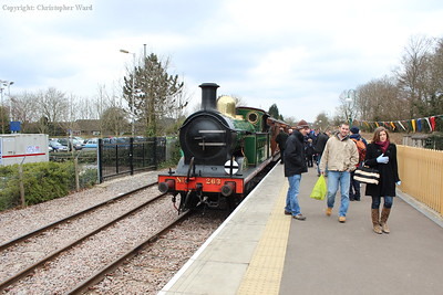 The H class sits in the new platform after arriving from Sheffield Park