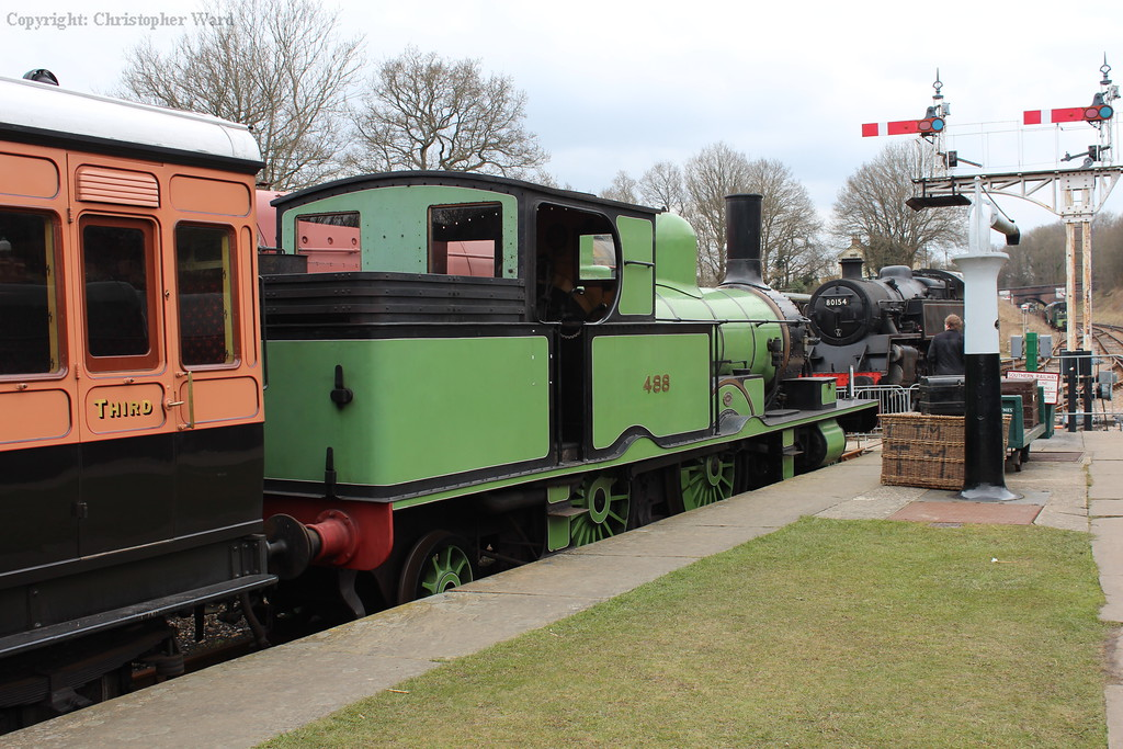 The Adams tank on display alongside the LSWR lavatory brake third 1520