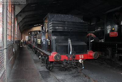 The only operational locomotive not in use, 55 Stepney in the shed along with 672 Fenchurch, the Dukedog and the O1 at the front of the line