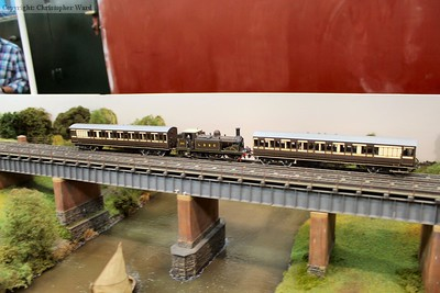 "An LBSC push-pull train departs the station on the impressive ""Pulborough"" layout"