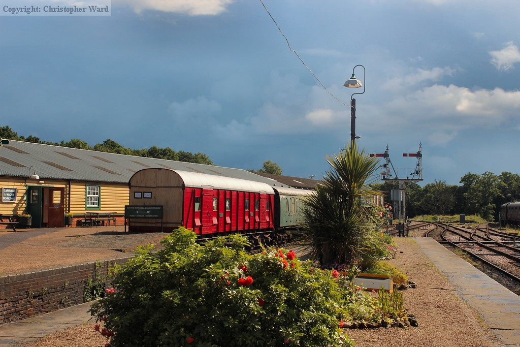 The newly completed ex-Elephant van (now a childrens play van) under threatening skies at Horsted Keynes