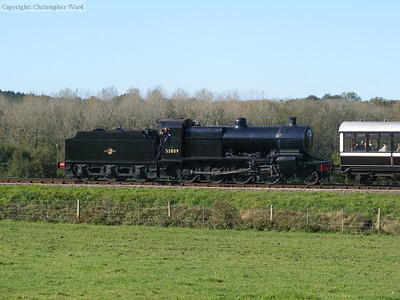 53809 passes south in glorious sunshine