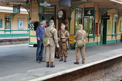 Members of the Home Guard patrol the station