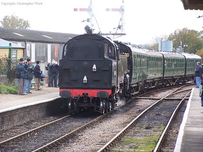 80151 arrives from Sheffield Park