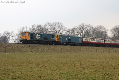 The electro-diesels in place to drag the tour back up from Sheffield Park, the train being too long for the loop