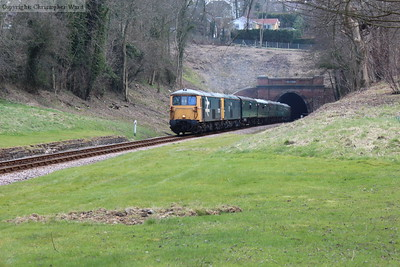 The 73s burst out of the tunnel with the special in tow