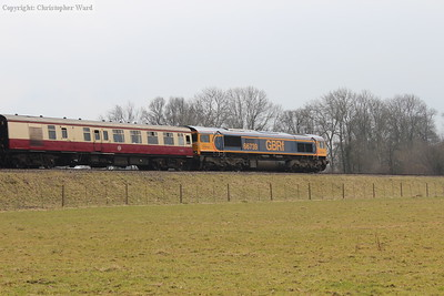 The 66 banks the train into Horsted Keynes