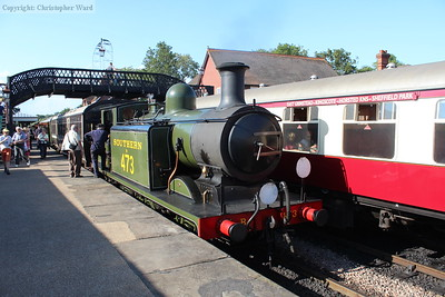 B473 brings her last train of the day into Sheffield Park