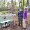 Louise Allred and Kathy Pol Viewing the Bench  4-23-05