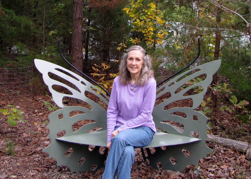 Donna on the Butterfly Bench Made by Charlie