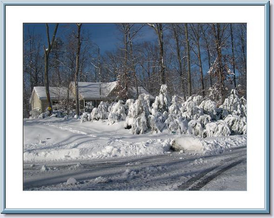 Photo From Street by Neighbor - Our Home After Snowstorms 2-8-10