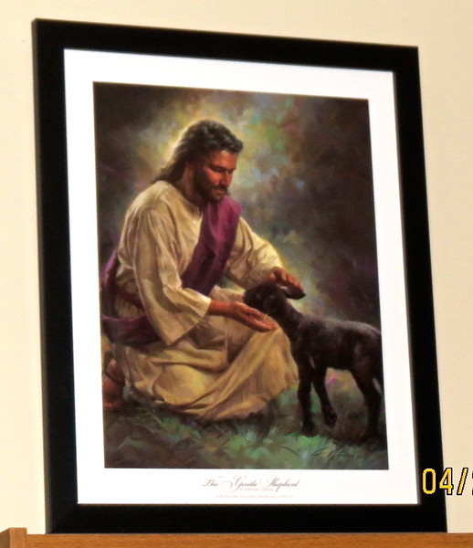 Second Nathan Greene Print I Bought - The Gentle Shepherd<br /> I will clean you up. It's okay. You're safe and healed.