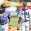 5/27/182:49:14 PM --- San Luis Obispo Blues earned their second win of the season over the Santa Maria Packers at Sinsheimer Stadium in San Luis Obispo, CA on May 27, 2018. <br /> <br /> Photo by Owen Main