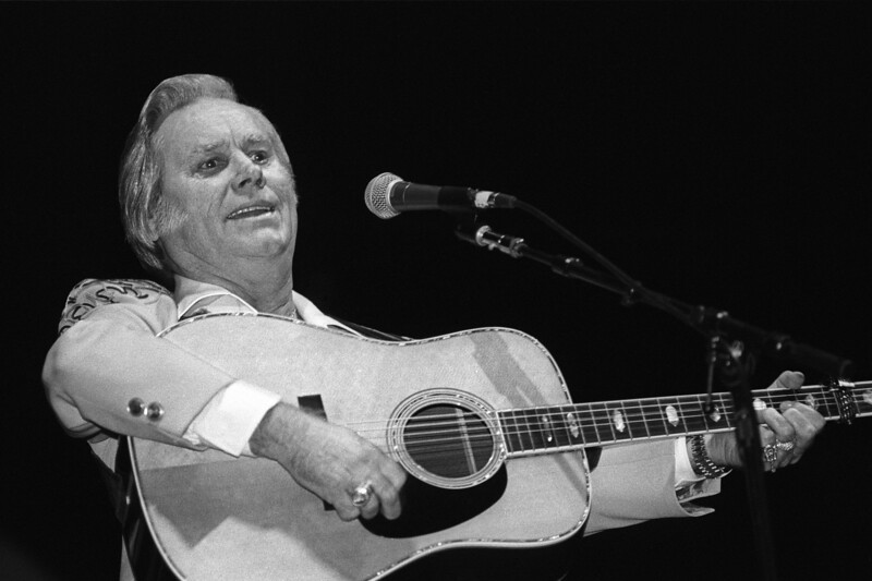 George Jones performs at the Oakland Coliseum on January 19, 1990.
