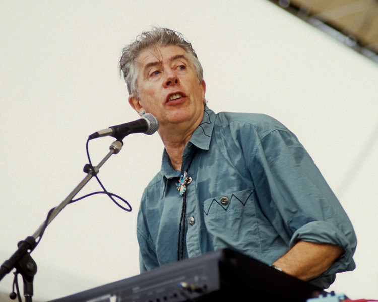 John Mayall performing live on stage at the New Orleans Jazz & Heritage Festival on May 3, 1991.