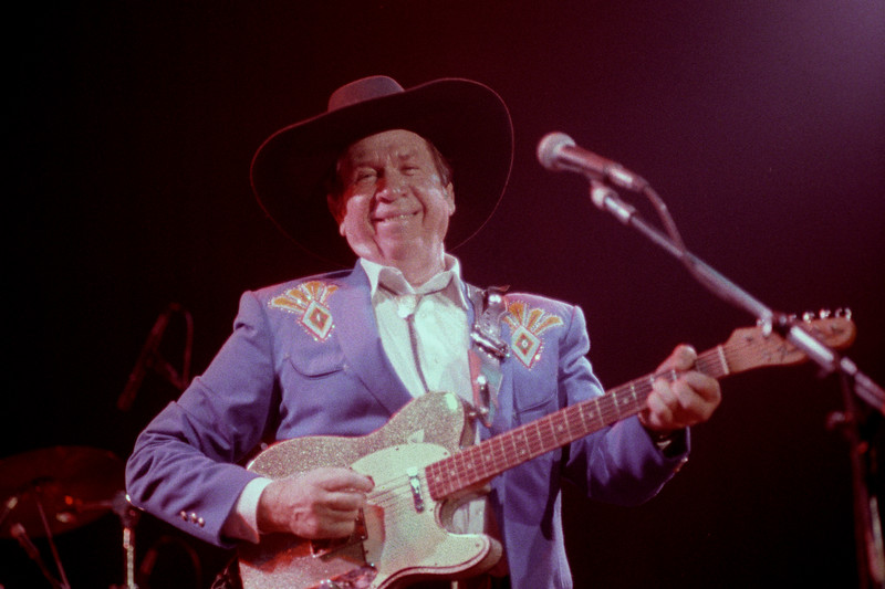 Buck Owens & The Buckarooos perform at the Fillmore Auditorium in San Francisco on June 3, 1989.