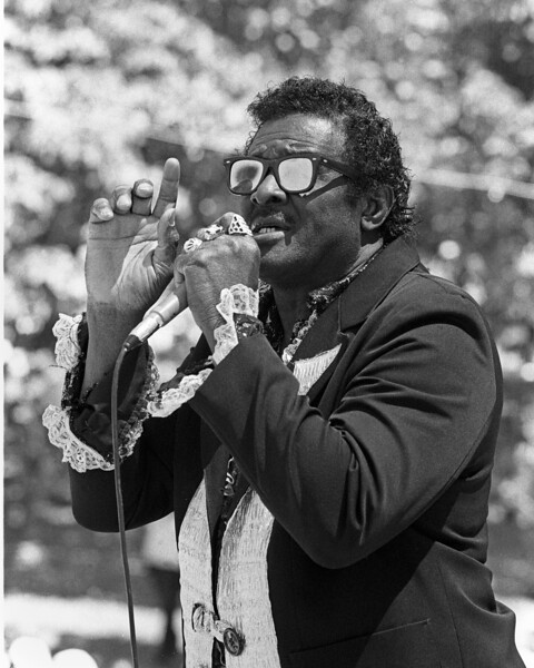 Jimmy McCracklin performs at the Festival at the Lake in Oakland in 1990.