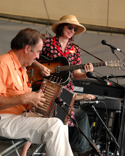 Mark and Ann Savoy performing live with the Savoy Family Band at the New Orleans Jazz & Heritage Festival on May 5, 2006.