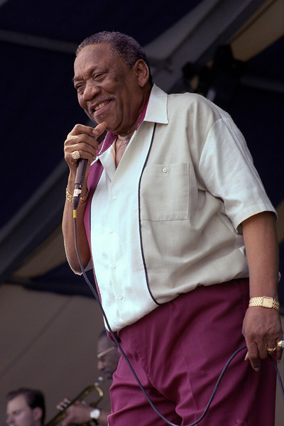 """Bobby """"Blue"""" Bland performs at the New Orleans Jazz and Heritage Festival on 4-25-99"""