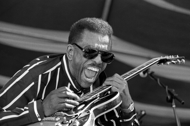 Syl Johnson performing live on stage at the New Orleans Jazz & Heritage Festival on May 3, 1997.
