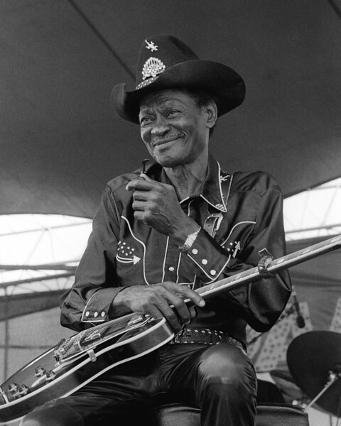 """Clarence """"Gatemouth"""" Brown performs at the New Orleans Jazz & Heritage Festival in 1993."""