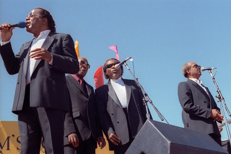 The Five Blind Boys of Alabama perform at the San Francisco Blues Festival on September 23, 1990.