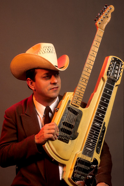Junior Brown backstage at the Warfield Theater in San Francisco on May 22, 1992.