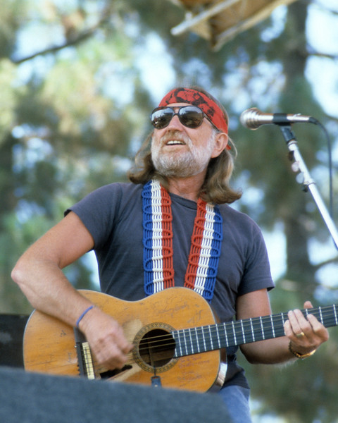 Willie Nelson perfoming live on stage at Spartan Stadium in San Jose, CA in 1982.