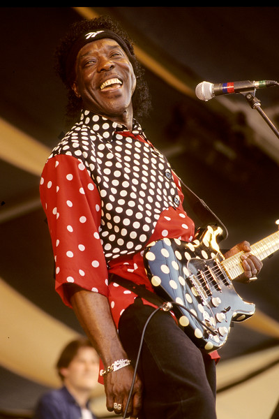 Buddy Guy performs at the New Orleans Jazz & Heritage Festival on May 3, 1996.