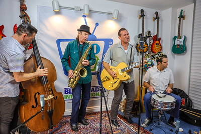 Doug Deming with  Andrew Gohman, bass David Cotton, sax and  Chris Peet, drums at Blues Radio International Studio  with Jesse Finkelstein 12.18.18