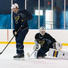 Blues Captain David Backes screens Jake Allen
